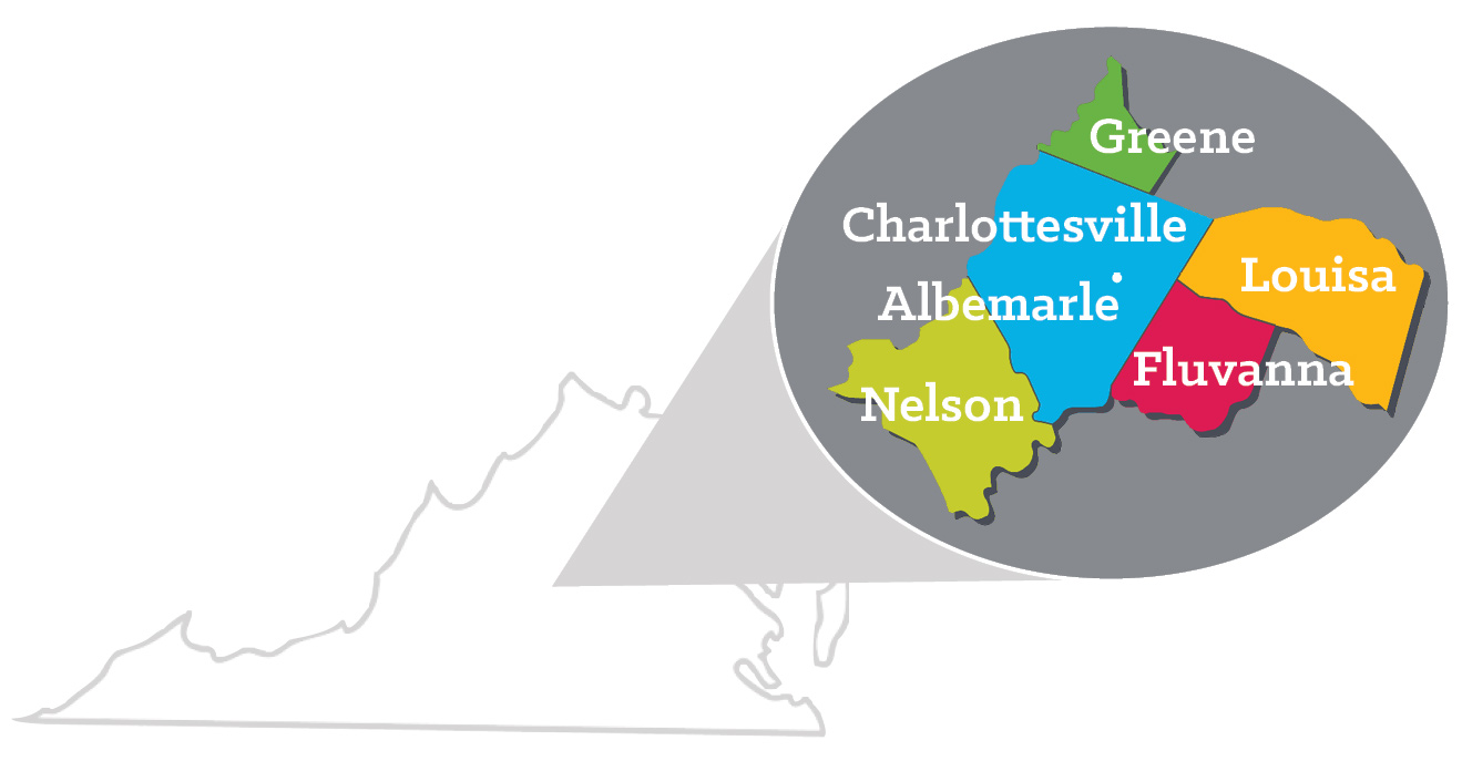 The ReadyKids Service Area consists of Charlottesville City, Albemarle, Nelson, Greene, Louisa, and Fluvanna counties.