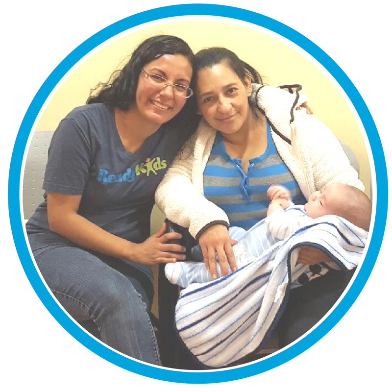 A Healthy Families Support Worker with a Mom and baby