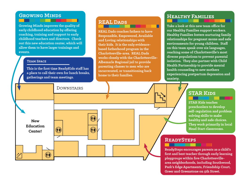 Map of the downstairs of the ReadyKids building