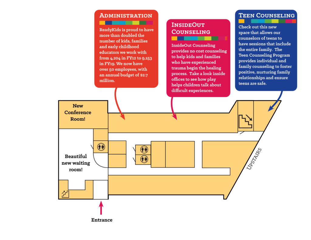 Map of the upstairs of the ReadyKids building