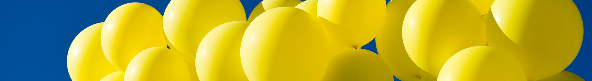 A group of yellow balloons in the sunshine